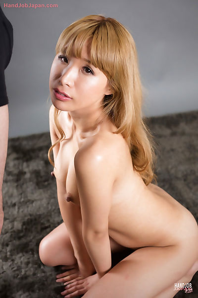 Blonde Japanese girl catches..