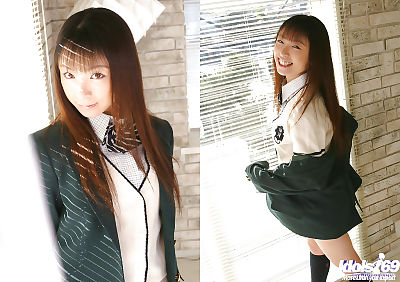 Cute asian schoolgirl Emiru..