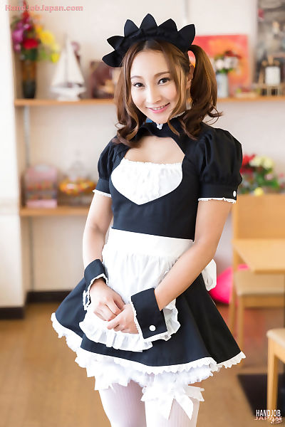 Cute Japanese maid gives her..