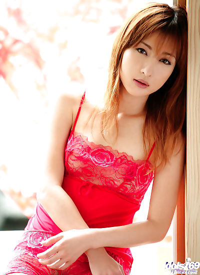Slender asian chick in red..